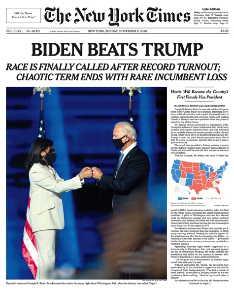 New York Times front page on November 8, 2020