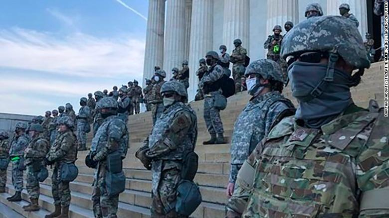 National Guard troops on the steps of the Lincoln Memorial