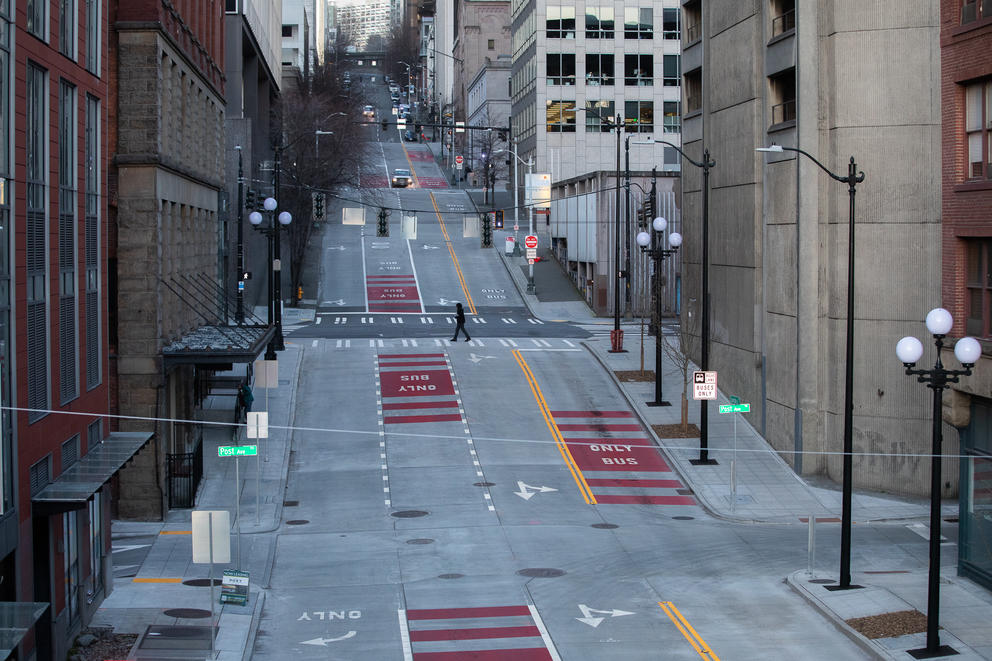 Picture of empty downtown Seattle streets